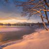 桧原湖の日の出