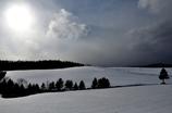 風、雲、雪、太陽、木立 富良野にて