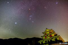 藤橋城にかかる冬の星
