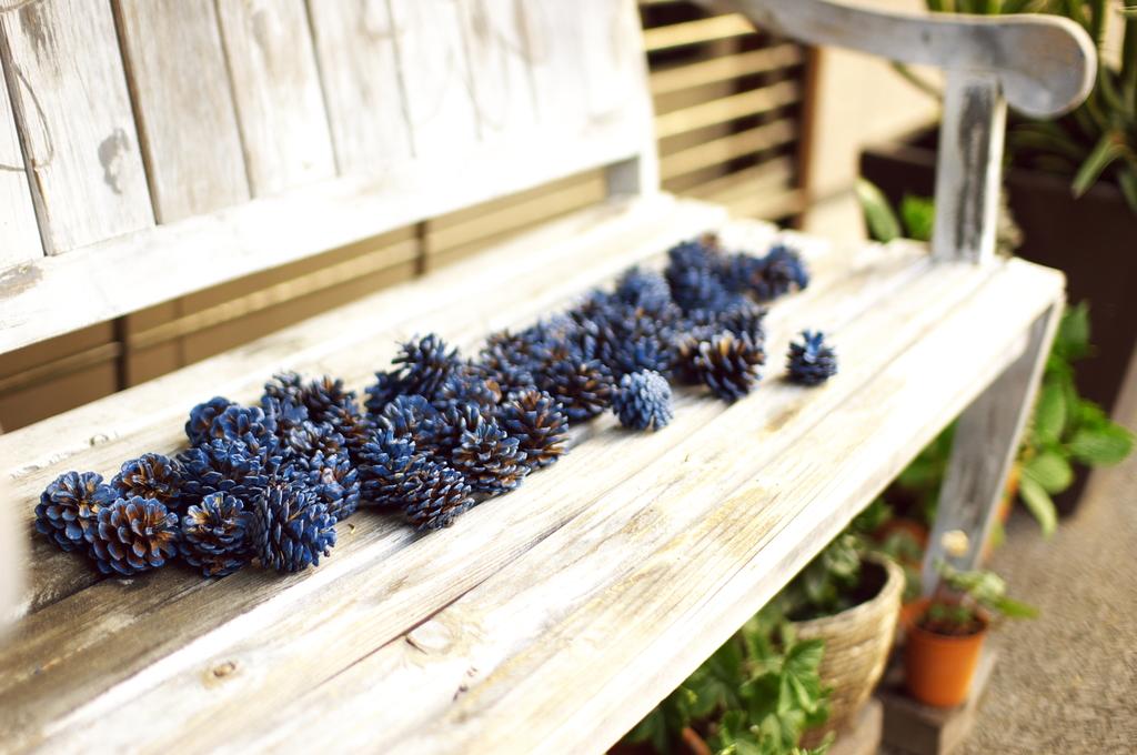 白いベンチと青い松ぼっくり