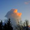 冬空の茜雲