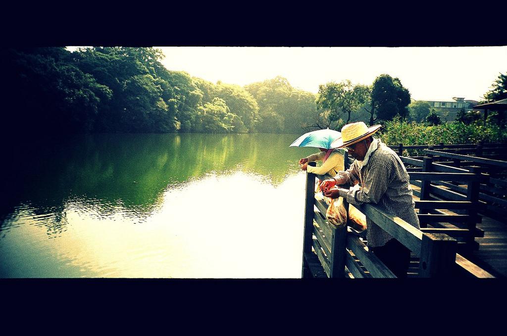 池を見つめる老夫婦