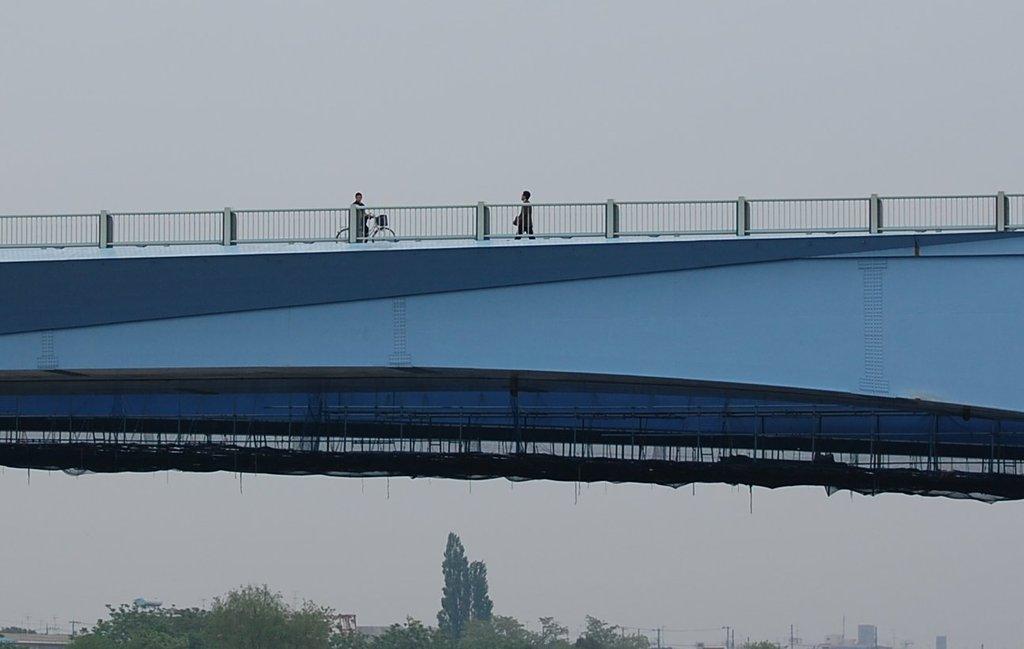 朝 橋の上
