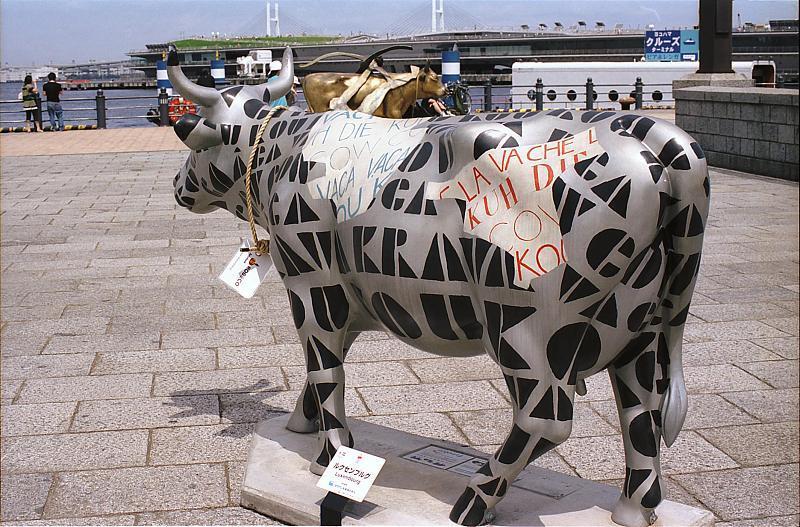 赤レンガ倉庫の牛