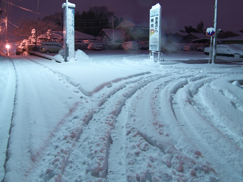 雪夜の三叉路
