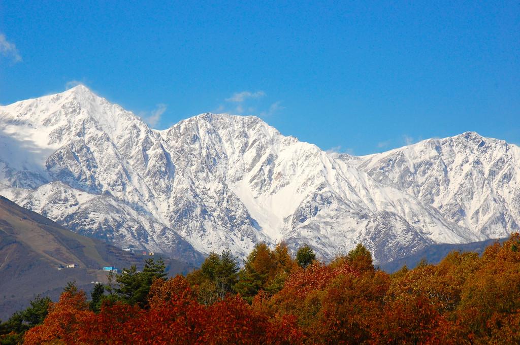新雪の白馬三山