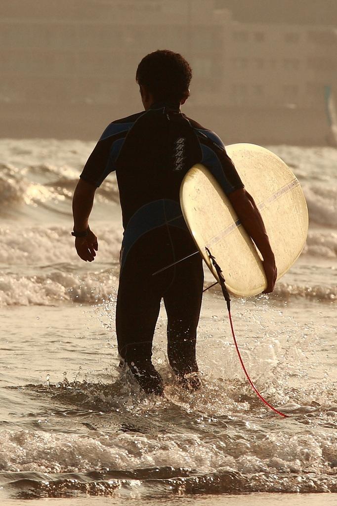これから波に向かいます