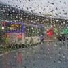Bus terminal in rain