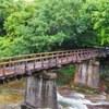 Wooden bridge to ONSEN hut