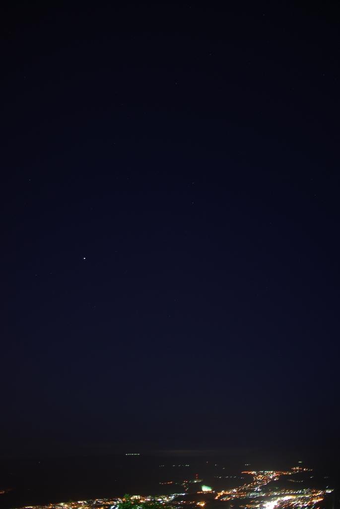 夜景と木星