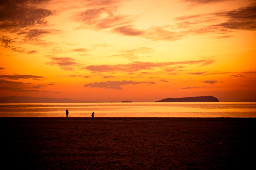 夕陽撮る人、撮らぬ人