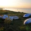 夕日とボートと花