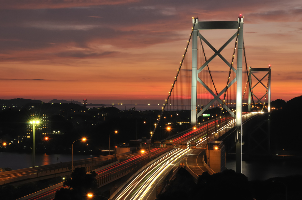 夕焼けの関門橋