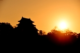 彦根城の朝日