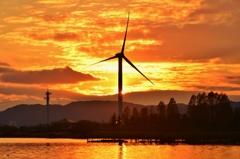 夕焼け風車