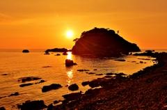 越前亀島の夕日