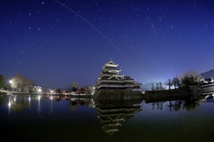 松本城上空、ISS通過