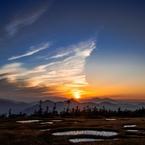 湿原の夕暮れ