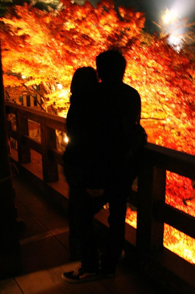 燃ゆる紅葉と二人