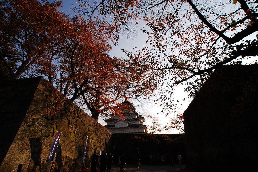 紅葉の若松城