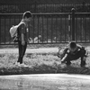 水田で遊ぶ子