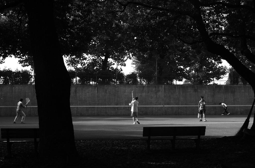 早朝テニス