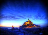 黎明の夜 モンサンミッシェル夜景色