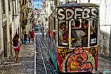 レスタウダドーレス広場近くグロリア線のケーブルカー リスボン