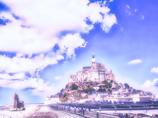幻想の朝の冬のモン=サン・ミシェル