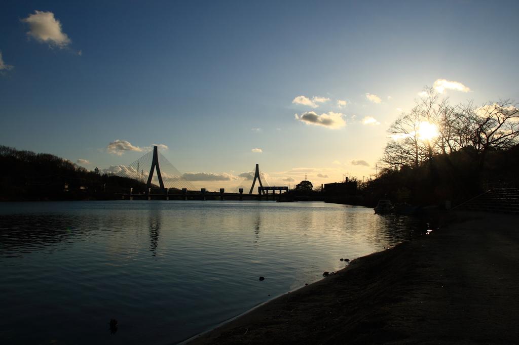 夕暮れどきの水辺