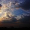 夕焼けとひこうき雲