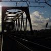 ローカル線の鉄橋で。2