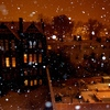 snowing town