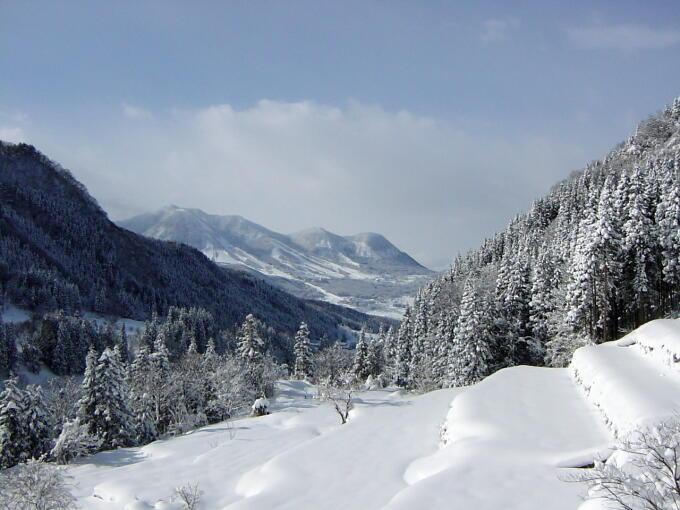 棚田の冬景色