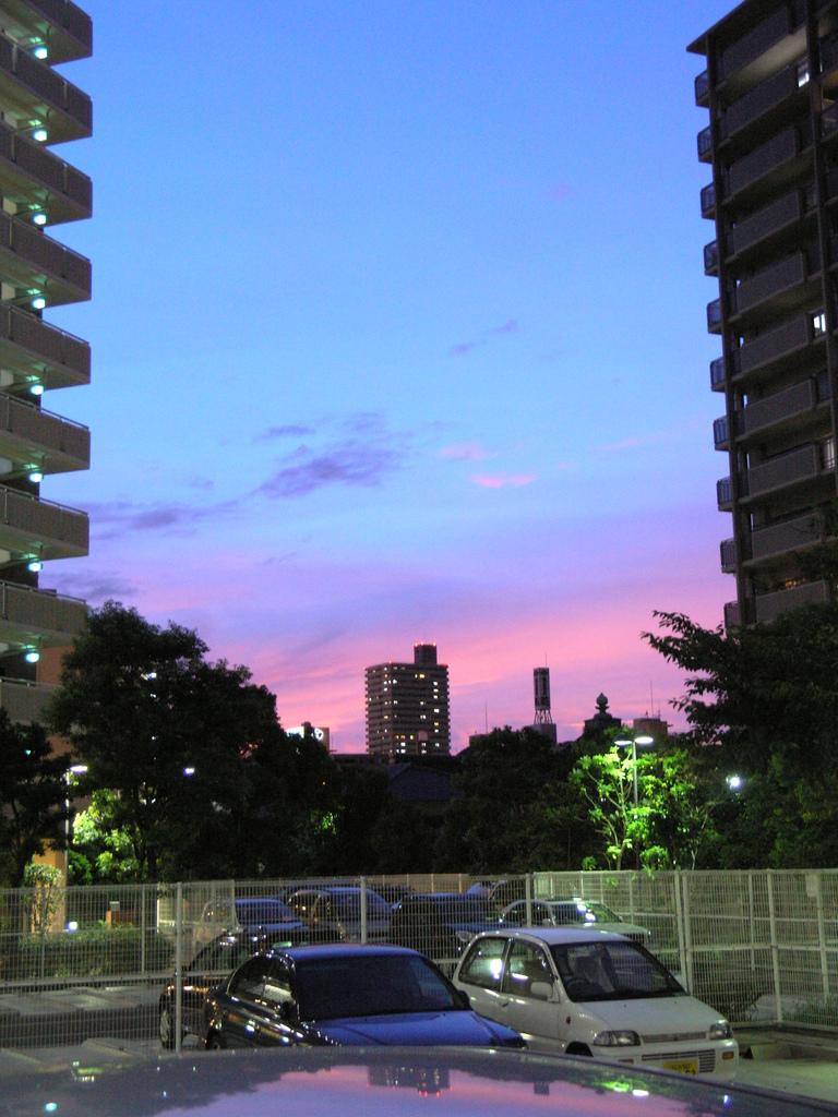 ビルの間の夕焼け