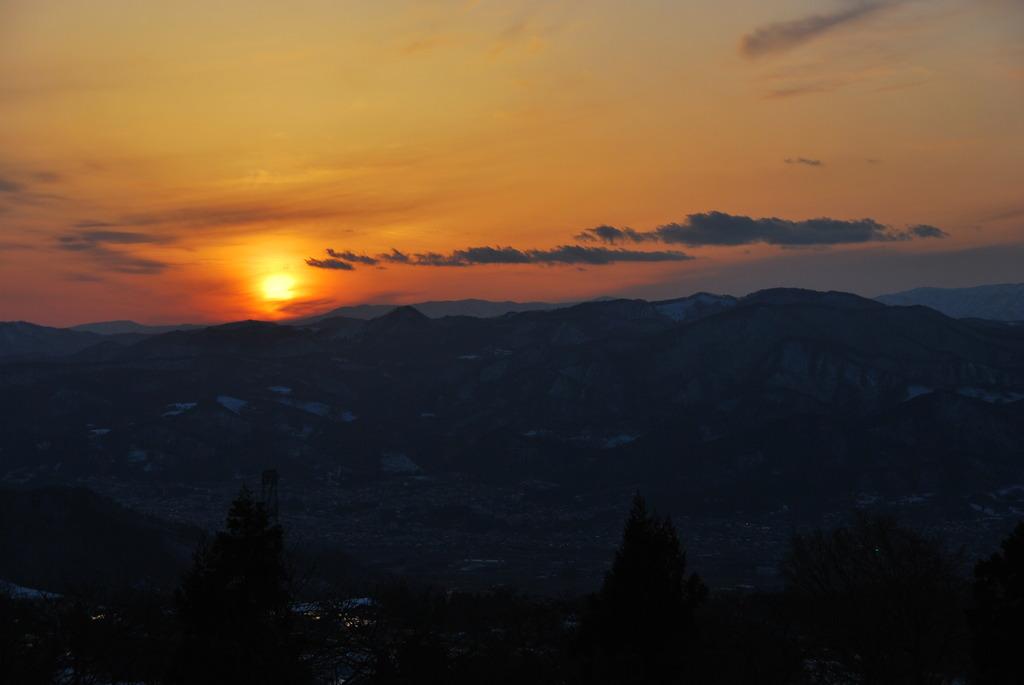 内陸の夕日