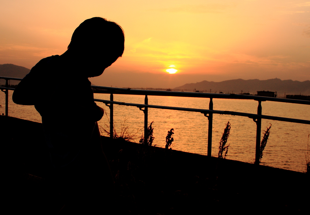 夕日の中で・・・