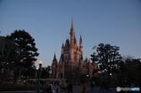 夕陽を浴びるシンデレラ城