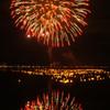 諏訪湖の灯篭流しと花火