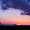 夕焼けの富士遠景