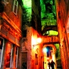 Old Town, Green and Salmon Pink