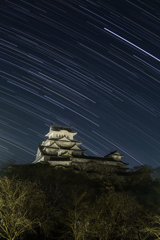 姫路城と南天の空