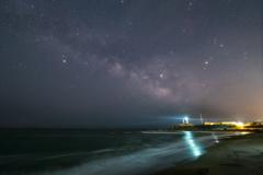 犬吠埼灯台と天の川