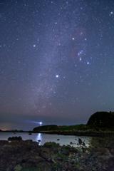 爪木崎灯台と星空