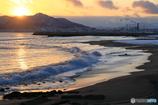 夕日と海と函館山