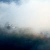 霧かすむ大野城