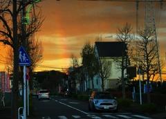 黄昏時の虹《日没後の虹》