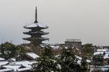 雪降る八坂の塔