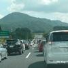 阿賀PA手前、渋滞最後尾で。