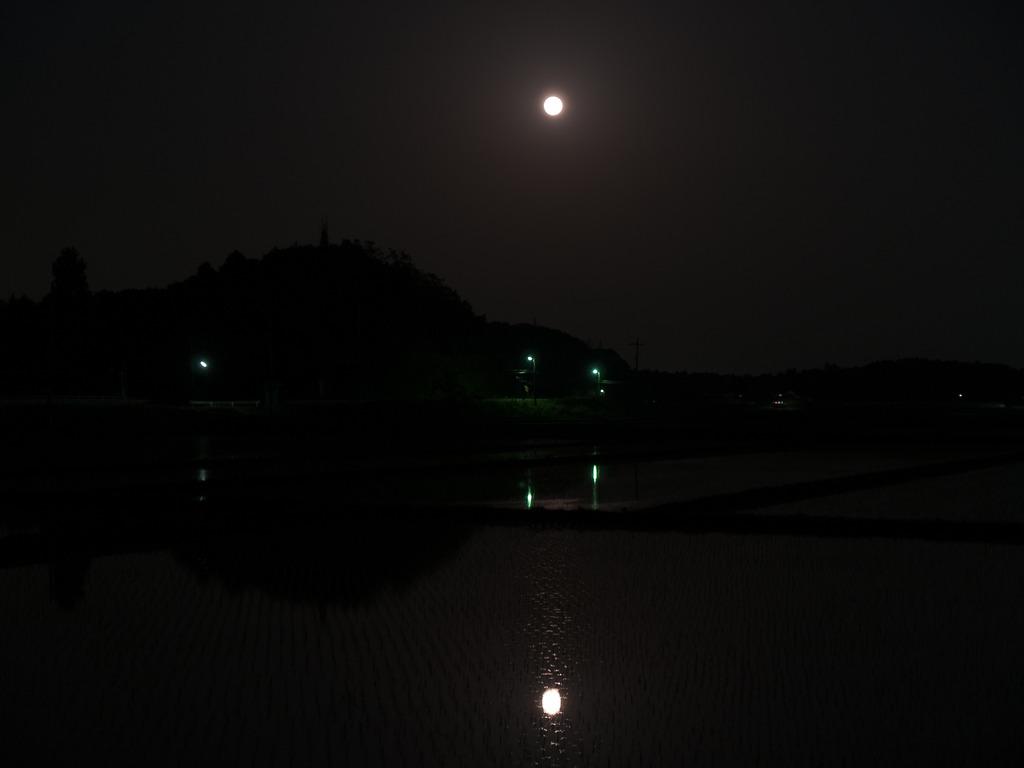 水面に映る満月